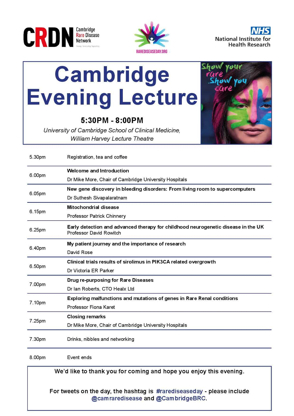 Cambridge Rare Disease Network - Rare Disease Day 2018 - CRDN/NIHR lecture event 1