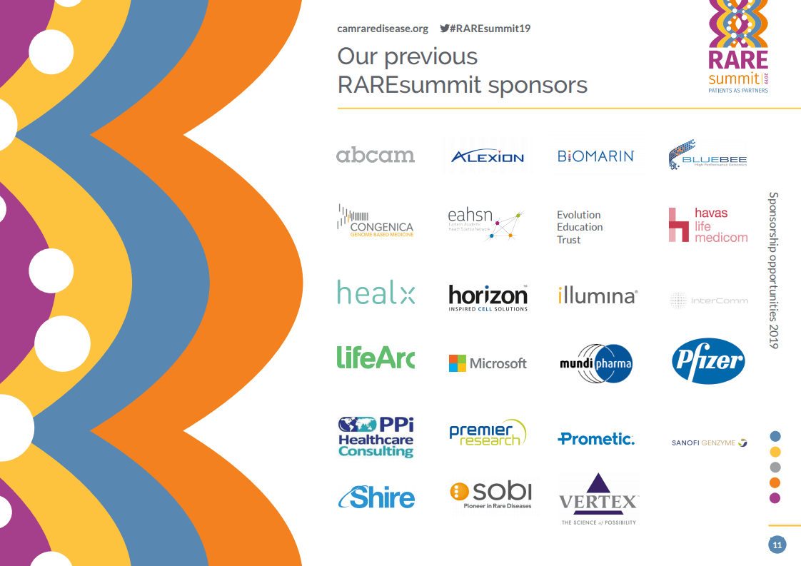 Cambridge Rare Disease Network - RAREsummit19 | Become a sponsor 1
